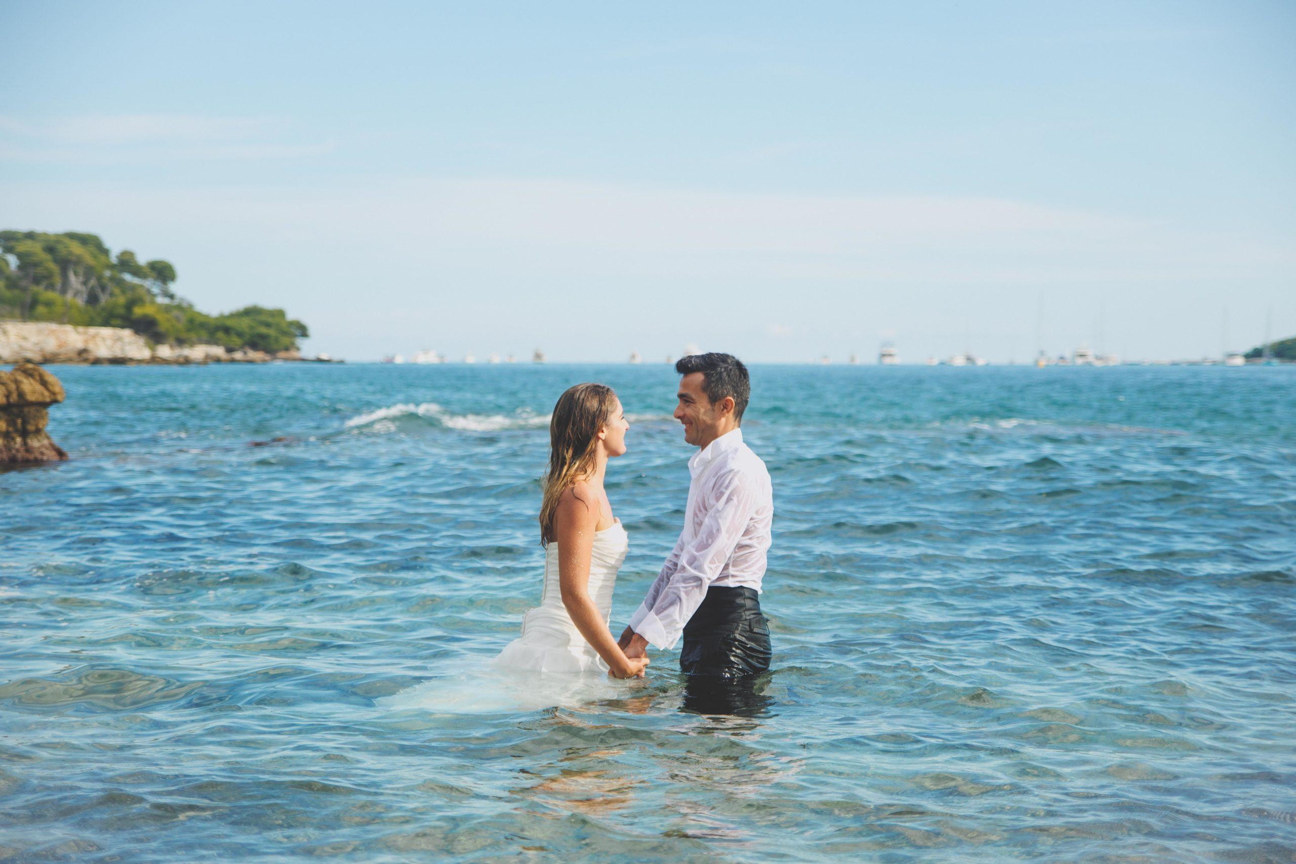 photo mariés mer